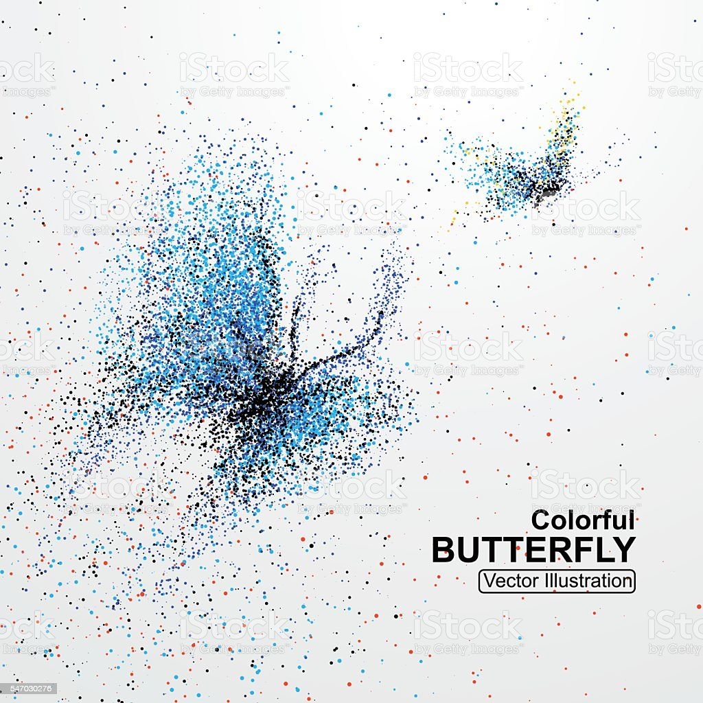 Colorful butterfly particles, vector illustration. vector art illustration