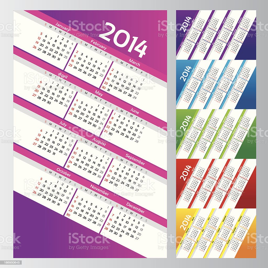 Colorful calendars set royalty-free stock vector art