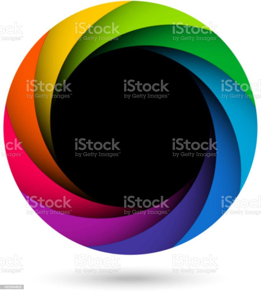 Colorful camera shutter aperture vector art illustration