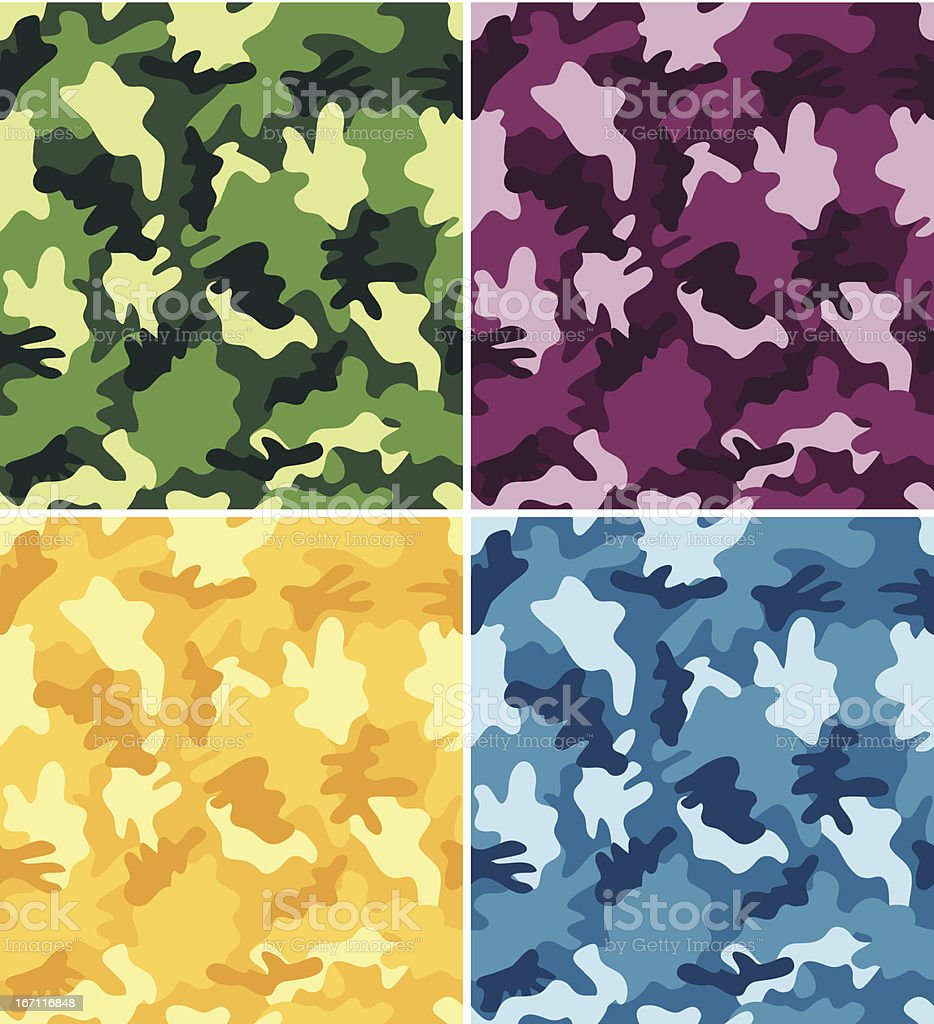 Colorful Camouflage Seamless Patterns royalty-free stock vector art