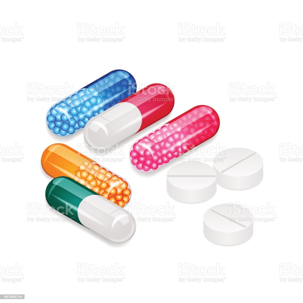 Colorful capsules and white pills vector art illustration