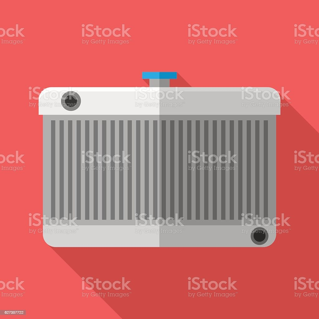 Colorful car radiator icon in modern flat style vector art illustration