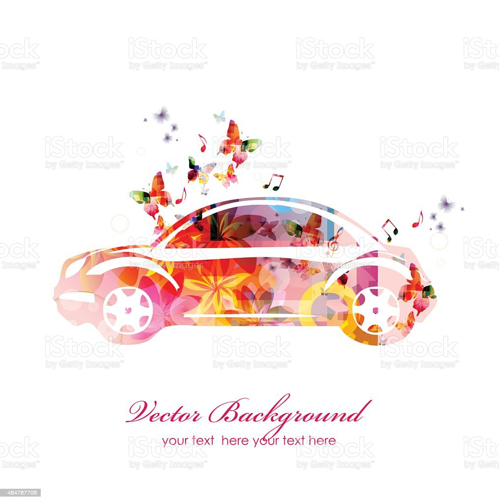 Colorful car with butterflies vector art illustration