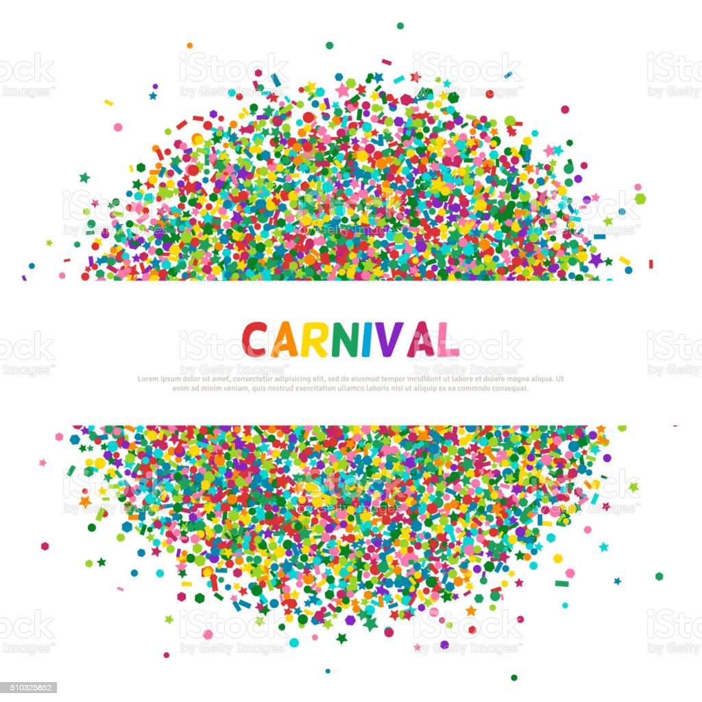 Colorful carnival confetti greeting card vector art illustration