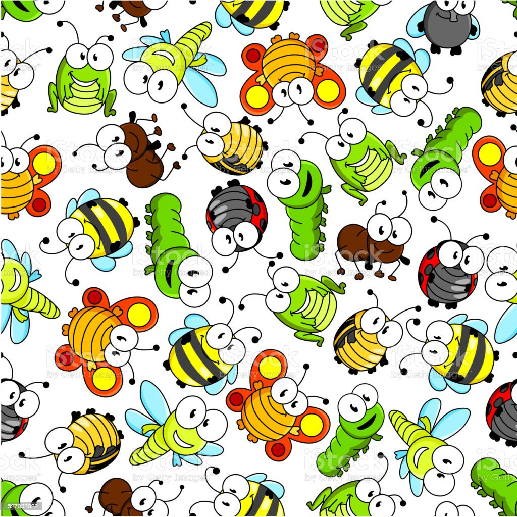 Colorful cartoon funny insects seamless pattern vector art illustration