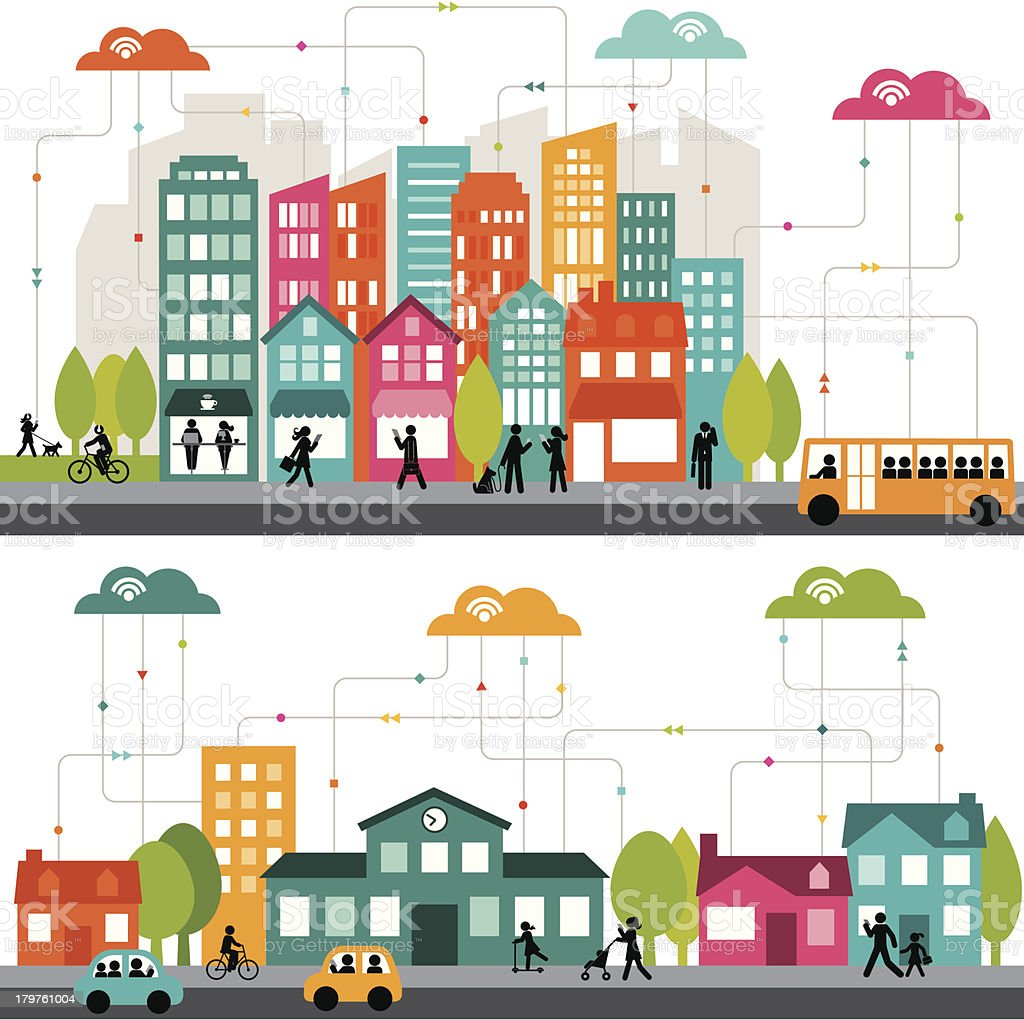 Colorful cartoon illustration of a connected city vector art illustration