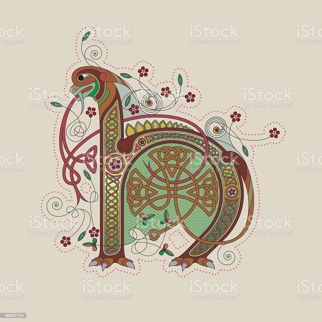 Colorful celtic illumination of the initial leter H vector art illustration