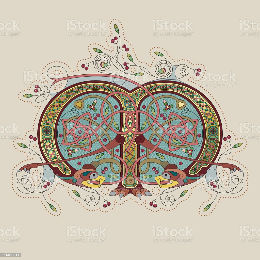 Colorful celtic illumination of the initial leter M vector art illustration
