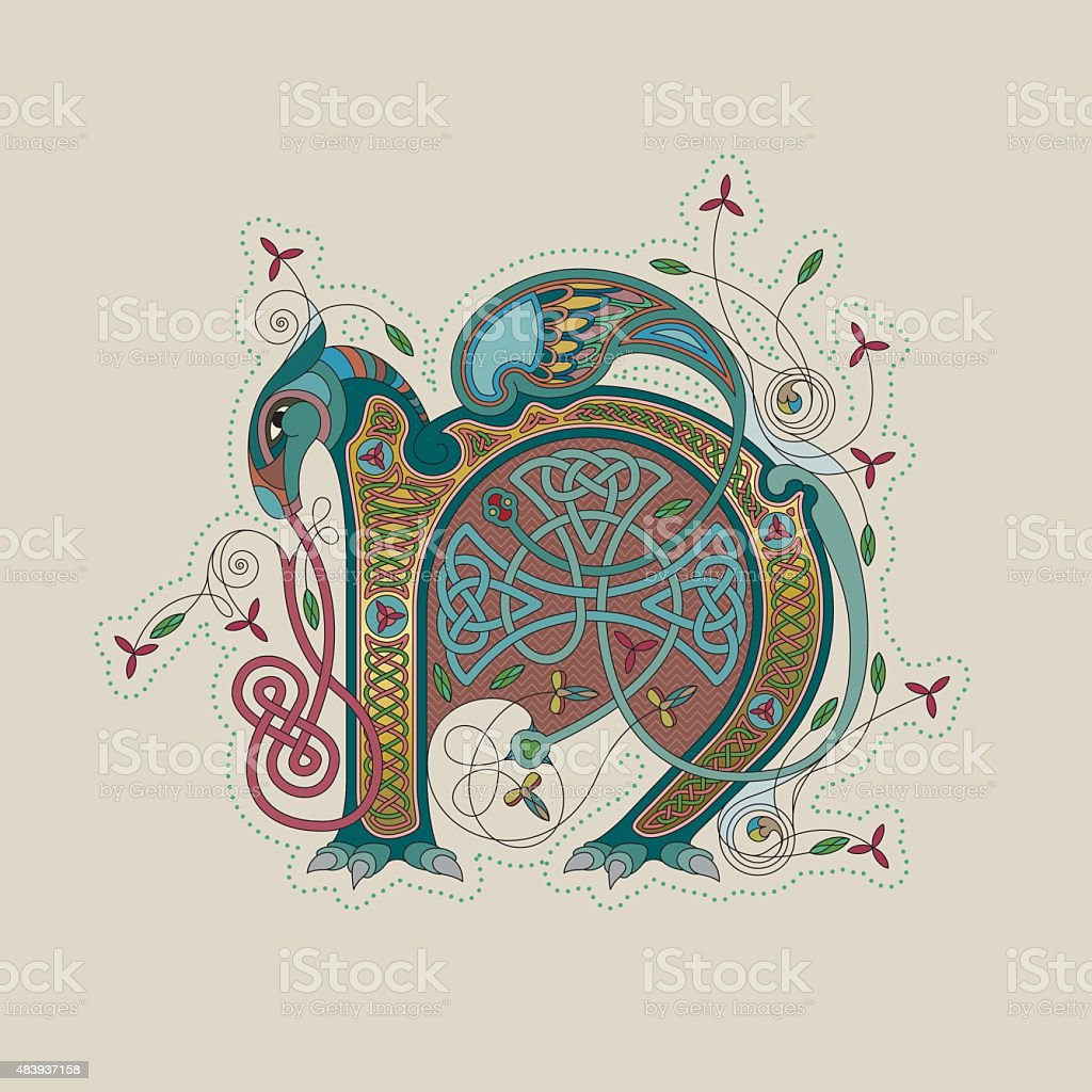 Colorful celtic illumination of the initial leter N vector art illustration