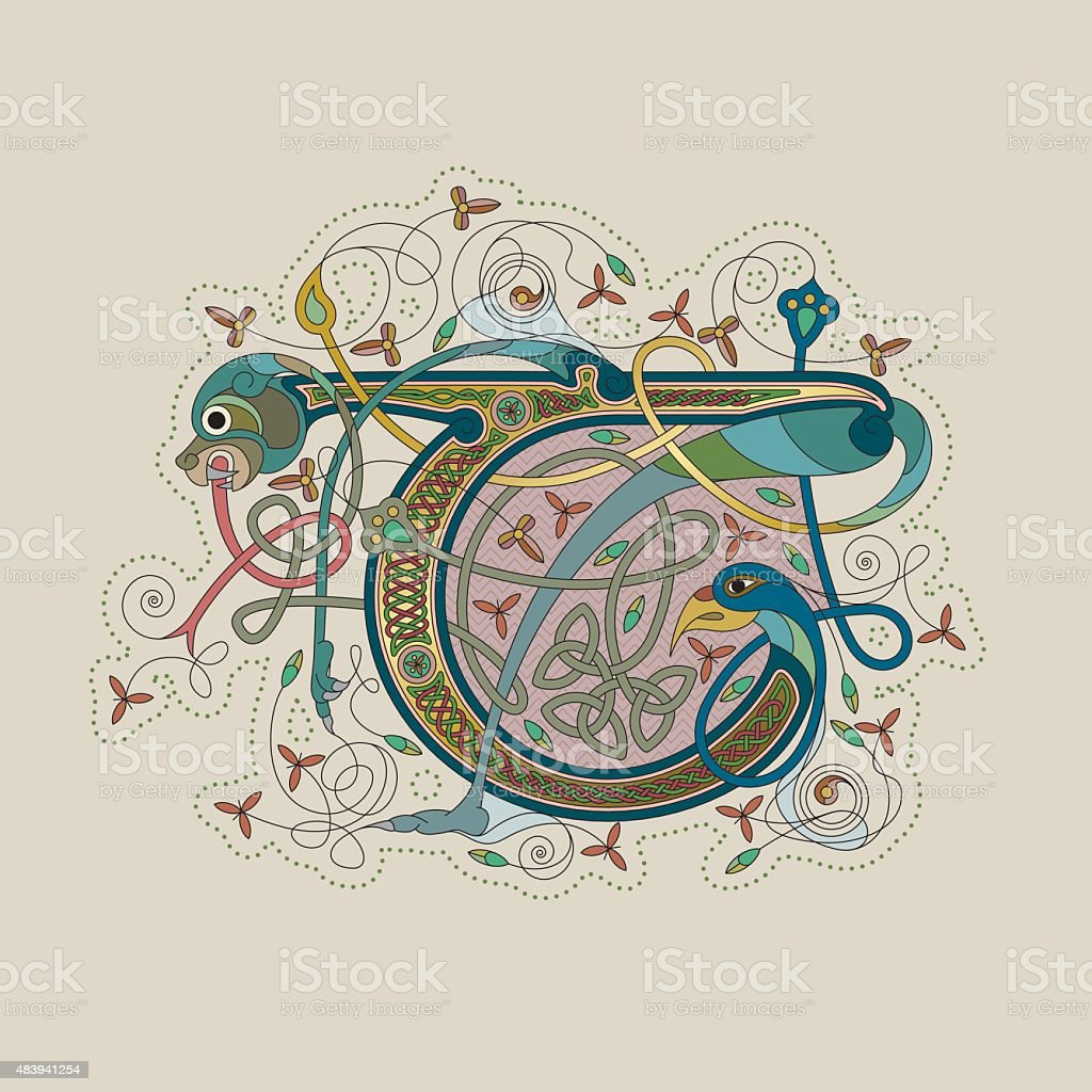 Colorful celtic illumination of the initial leter T vector art illustration
