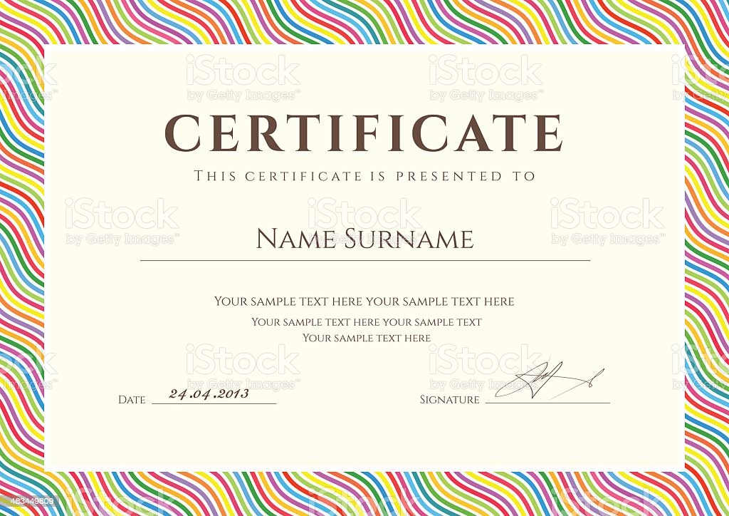 Colorful Certificate / Diploma template. Background design with wave pattern, border vector art illustration