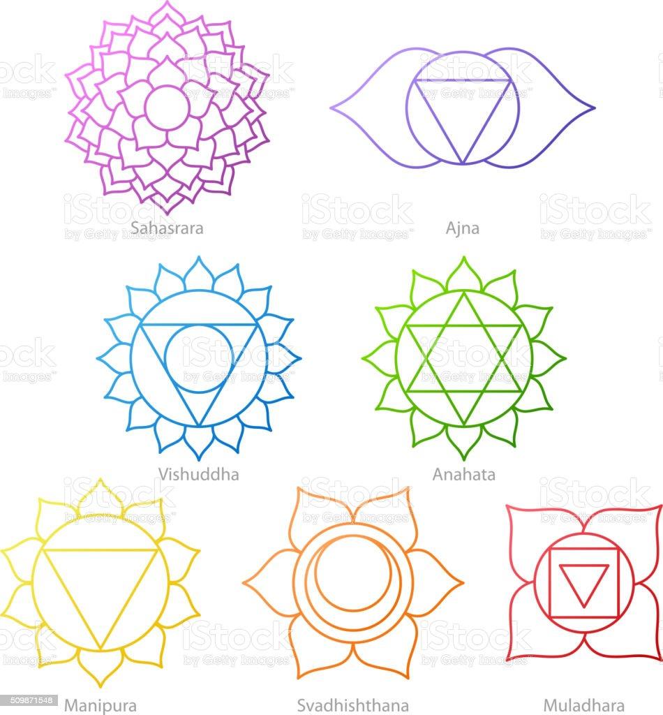 Colorful chakras symbols icons set vector art illustration