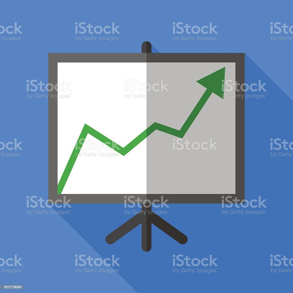 Colorful chart board icon in flat style with long shadow. vector art illustration