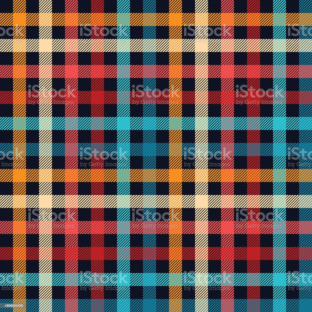 Colorful checkered gingham plaid fabric seamless pattern in blue white vector art illustration