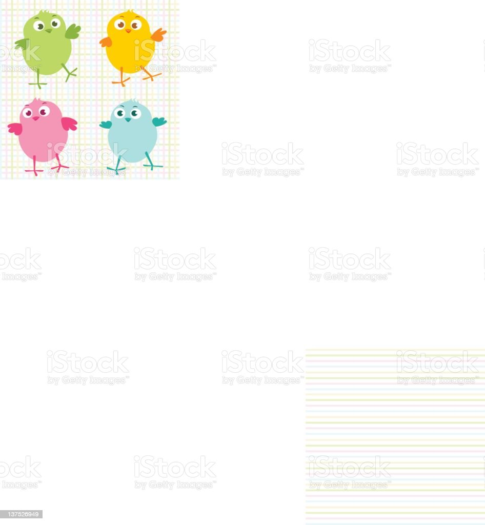 Colorful Chicks vector art illustration