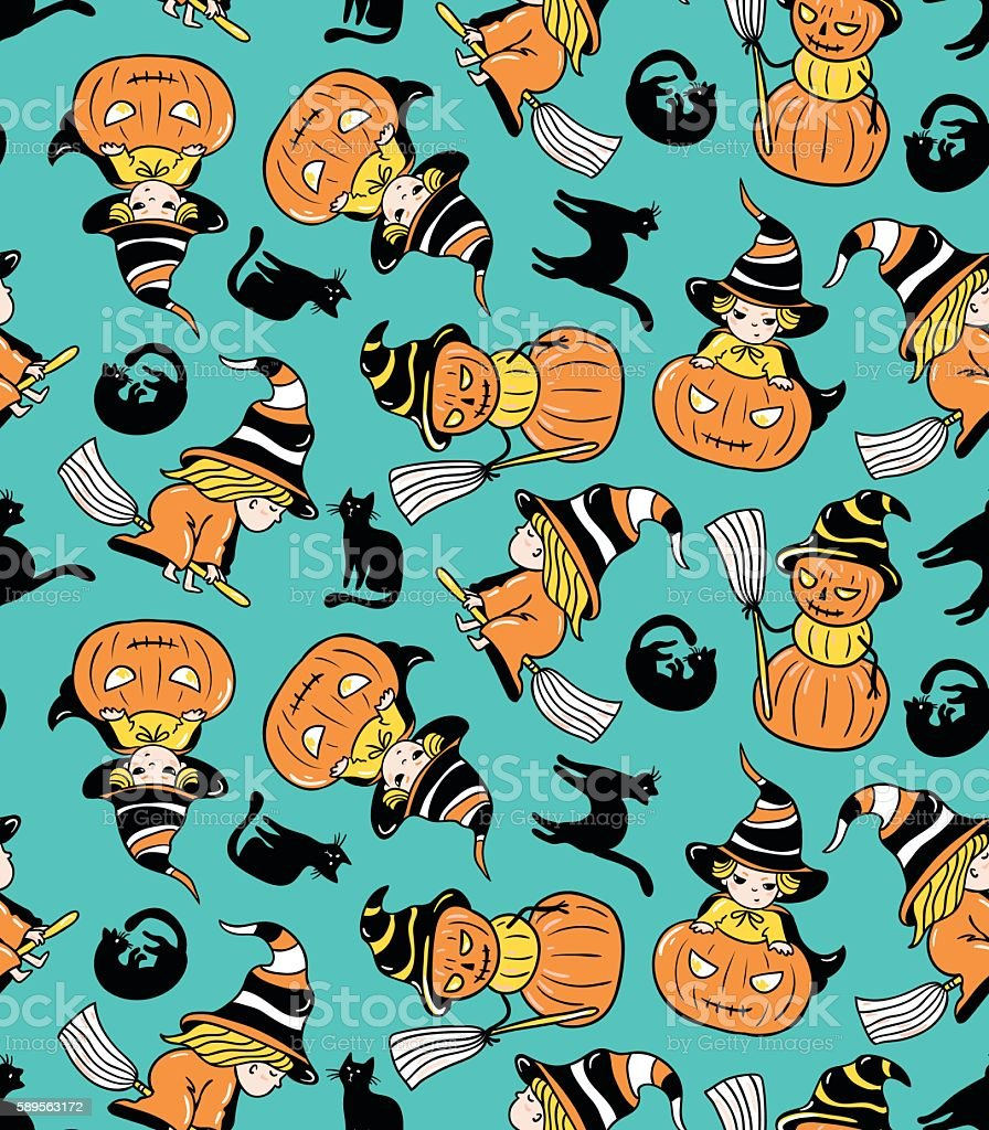 Colorful childlike seamless pattern with witches and pumpkins. vector art illustration