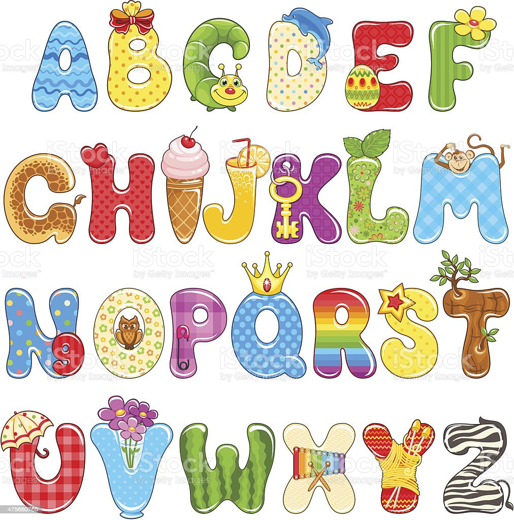 Colorful children alphabet spelled out with different fun cartoon. royalty-free stock vector art