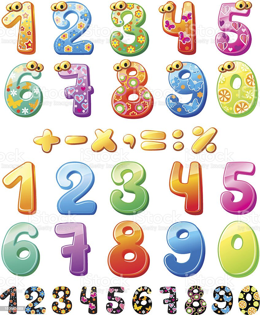 Colorful children numbers royalty-free stock vector art