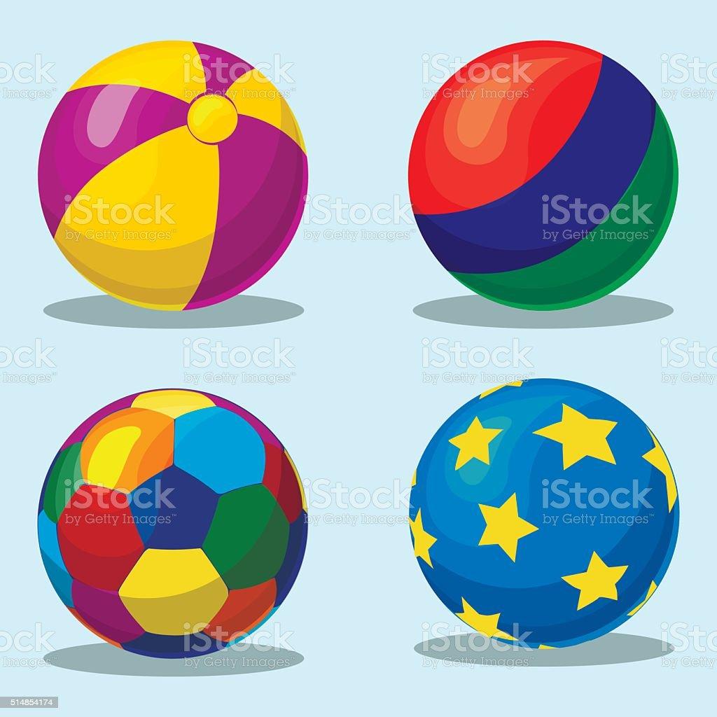 Colorful children's inflatable ball vector art illustration
