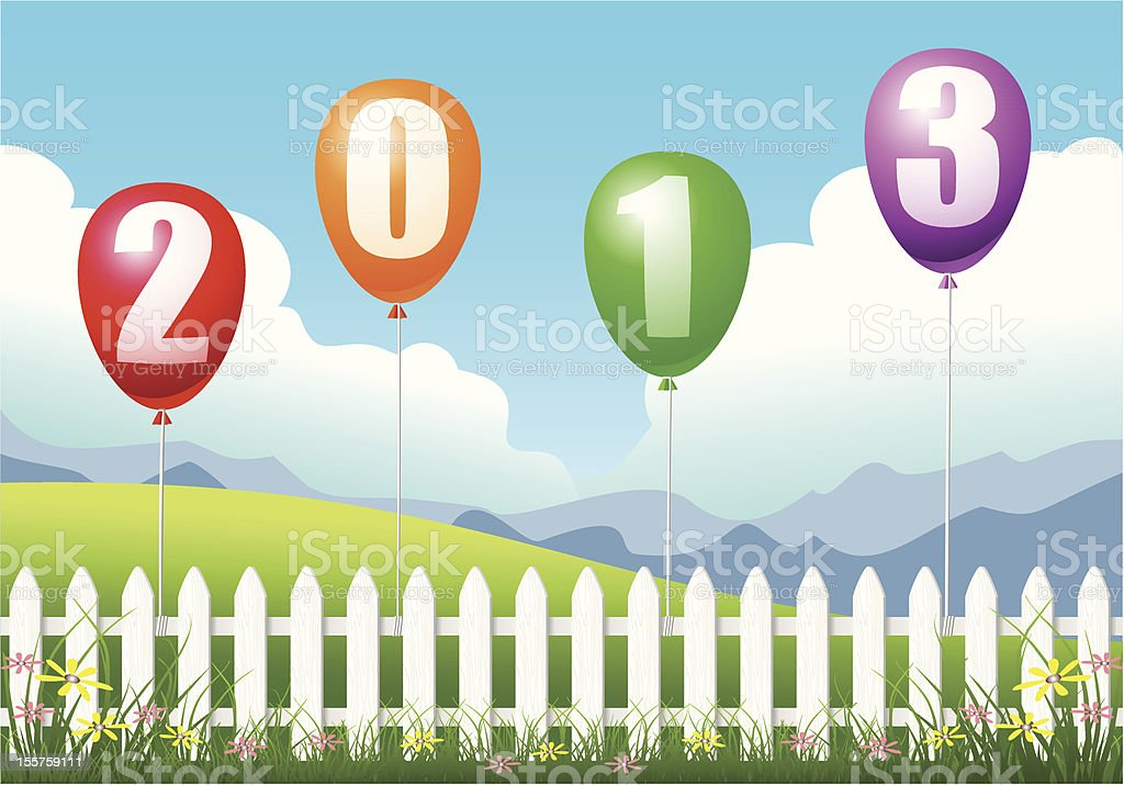 Colorful Christmas 2013 Balloons vector art illustration