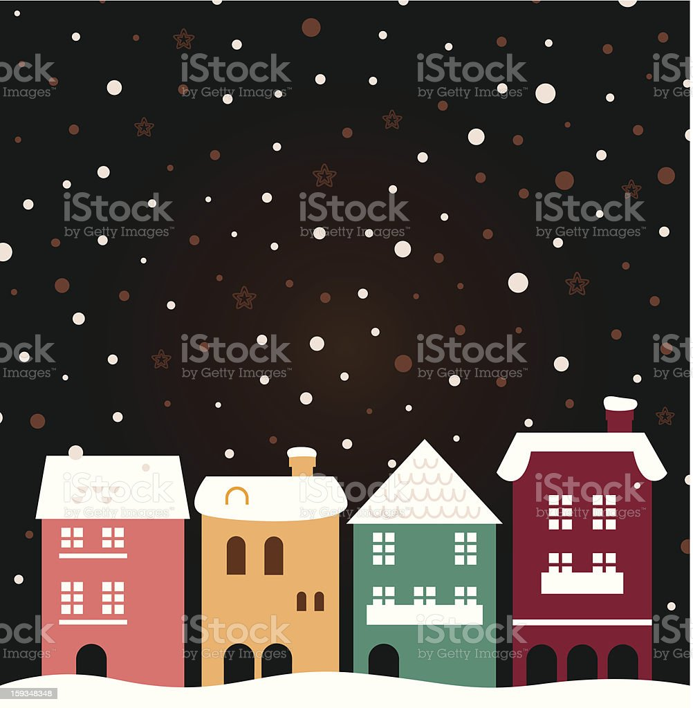 Colorful christmas city houses with snowing behind royalty-free stock vector art