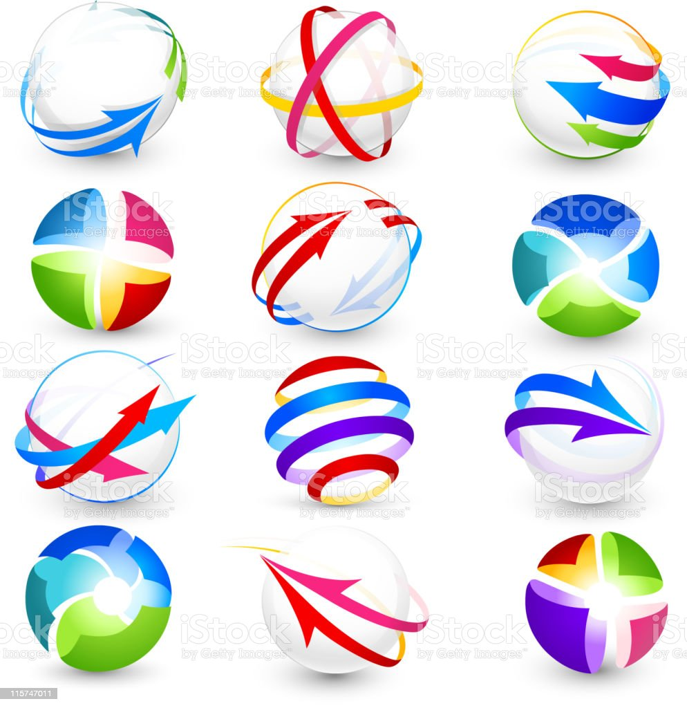 Colorful circle and arrow icons royalty-free stock vector art