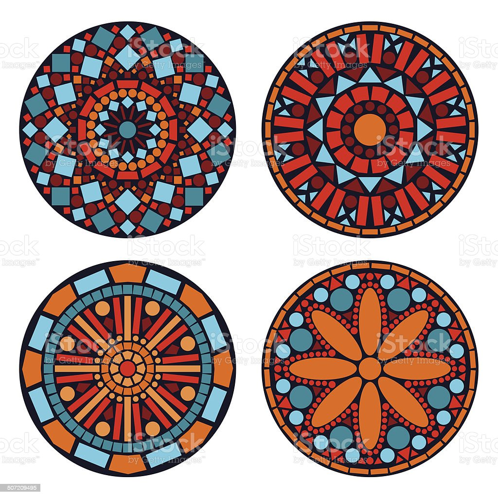 Colorful circle floral ethnic mandalas set in blue red orange royalty-free stock vector art