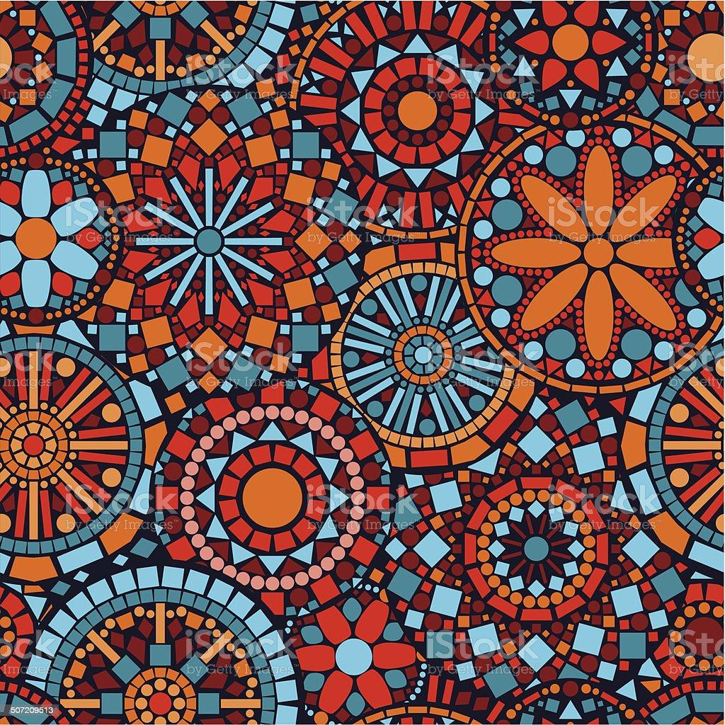 Colorful circle flower mandalas seamless pattern in blue red orange royalty-free stock vector art