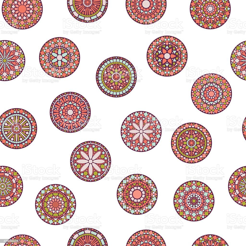Colorful circle flower mandalas seamless pattern in pink, vector vector art illustration