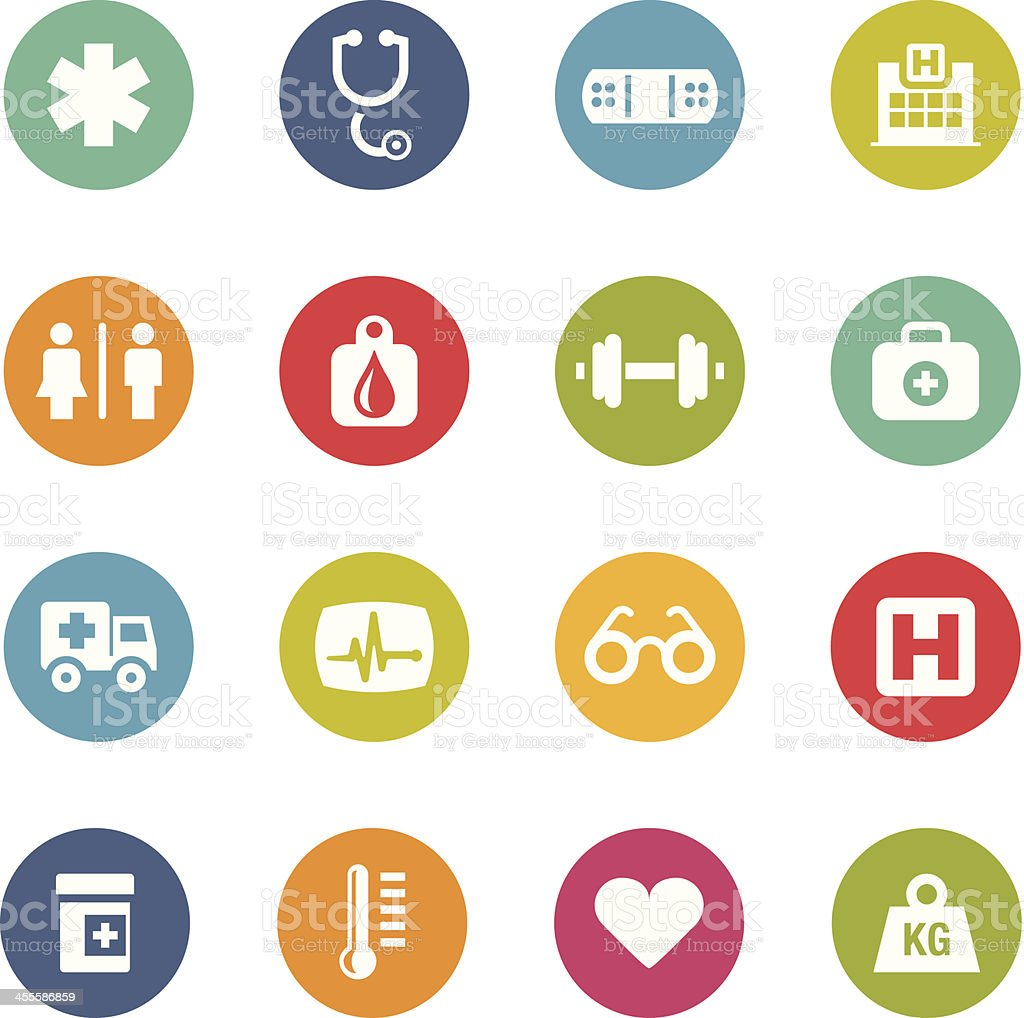 Colorful circular healthcare icons on white royalty-free stock vector art