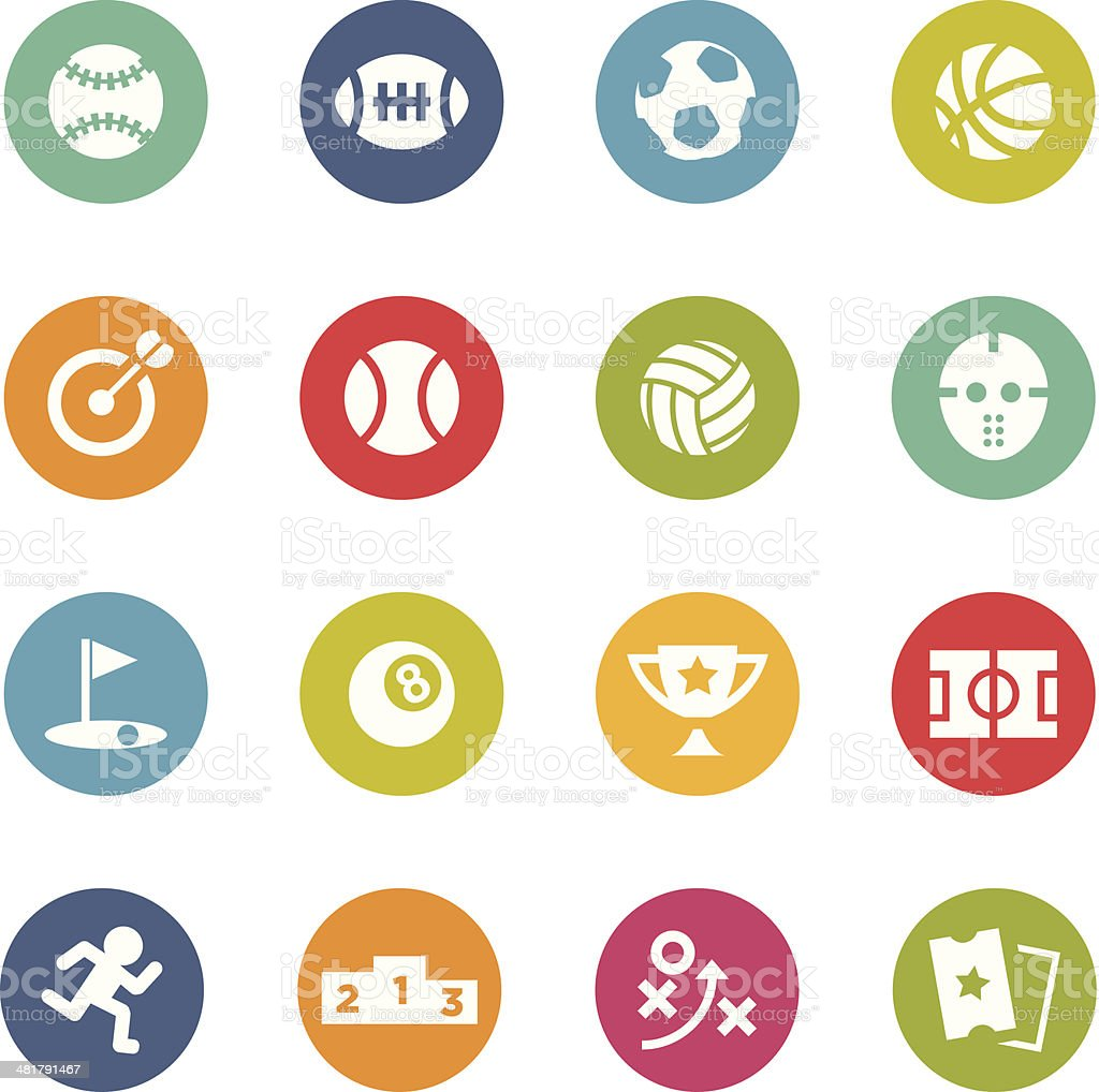 Colorful circular sports icons on white background royalty-free stock vector art