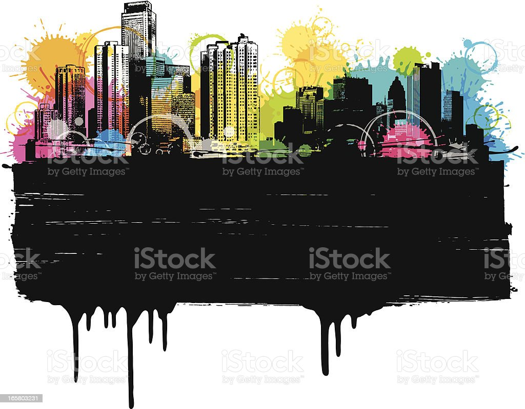 Colorful City Banner vector art illustration