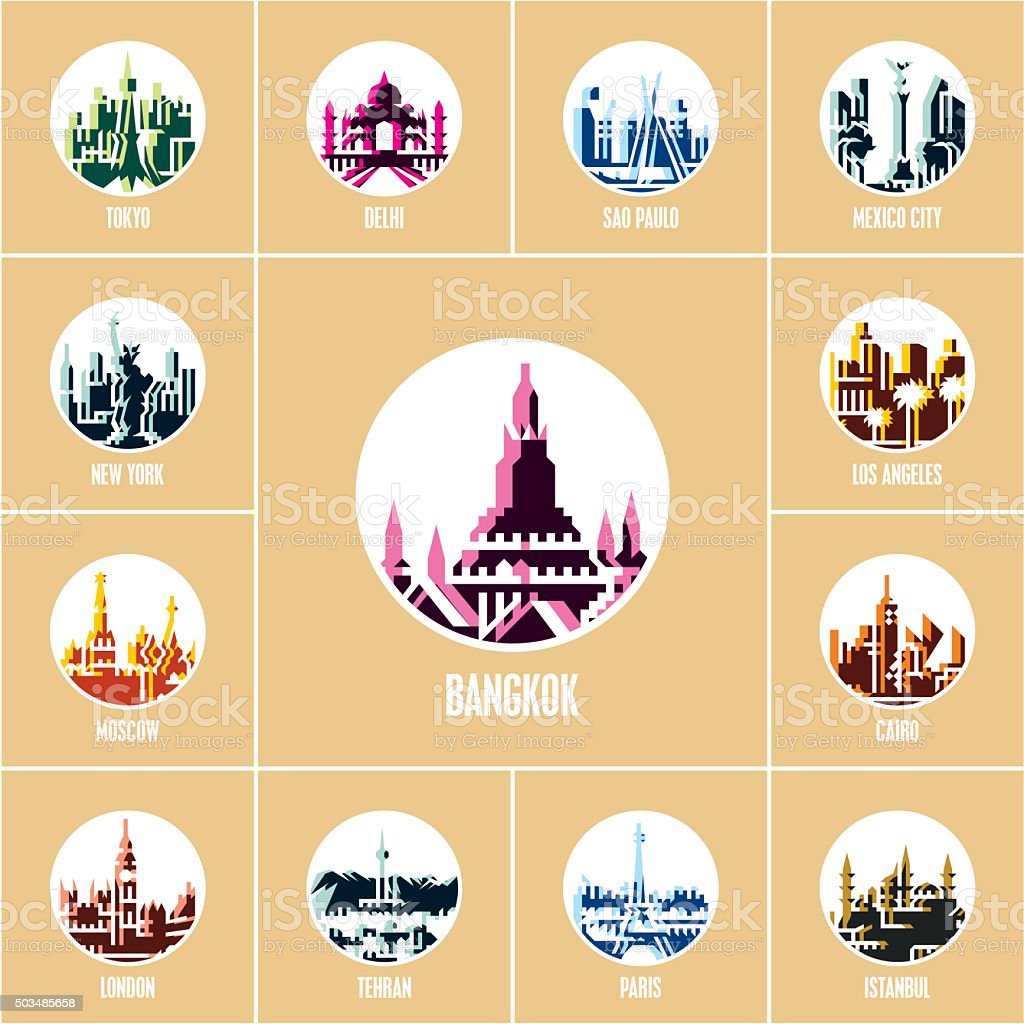 colorful city icons, cities of the world vector art illustration