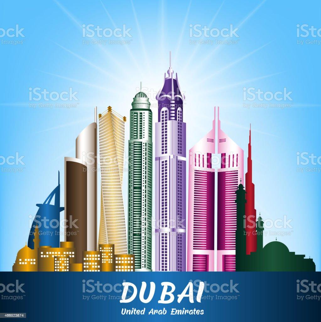 colorida ciudad de dubai emiratos rabes unidos famosos edificios libre de derechos libre de