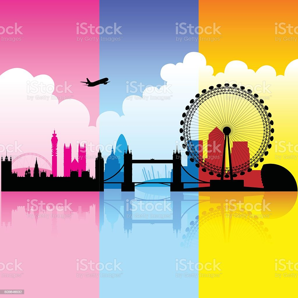 Colorful City of London vector art illustration