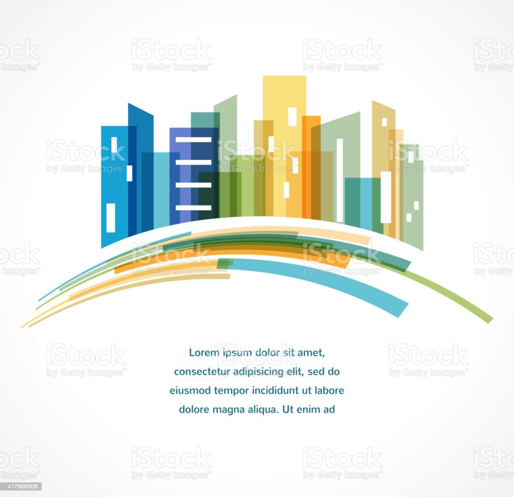 Colorful city,  real estate and skyline background vector art illustration
