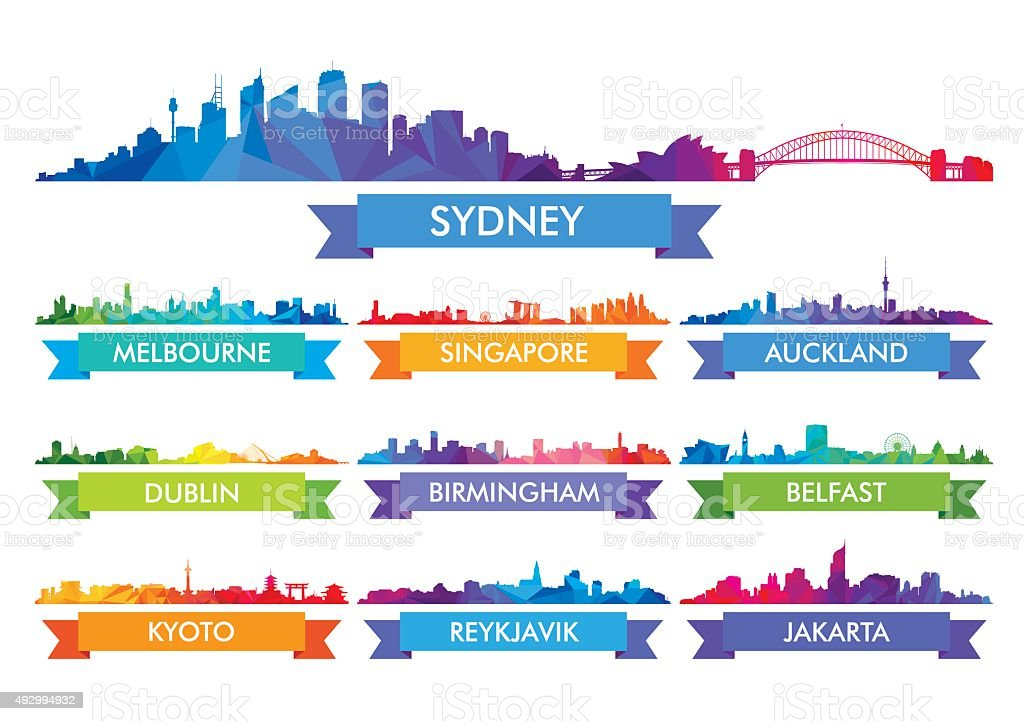 Colorful city skyline Australia and the Island country vector art illustration