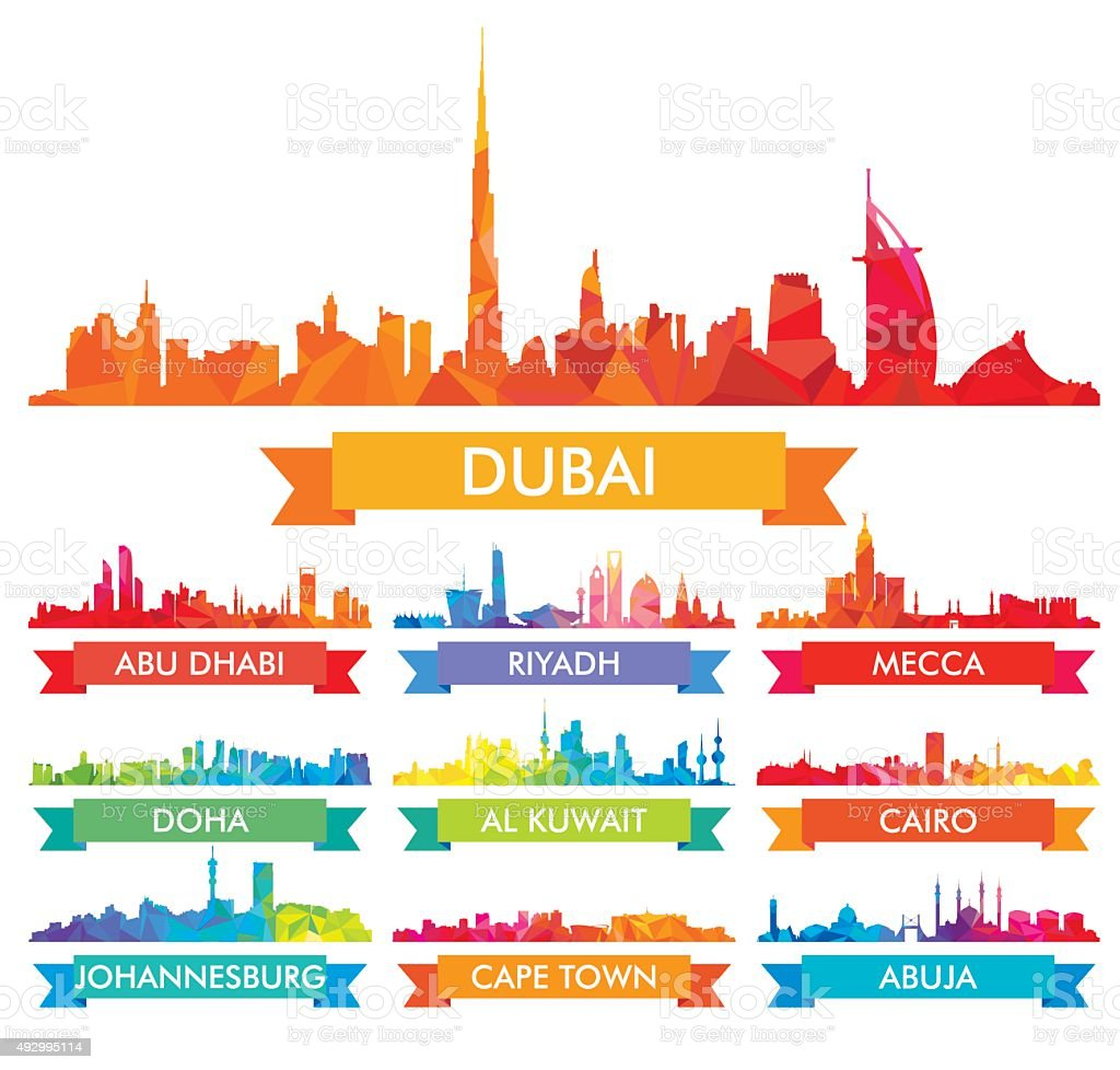 Colorful city skyline The Arabian Peninsula and Africa vector art illustration