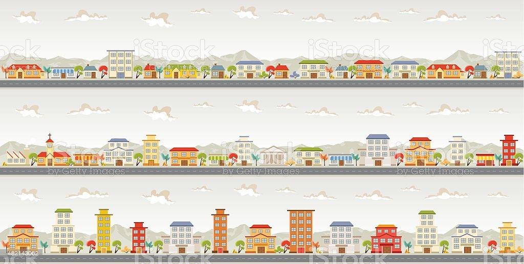 colorful city vector art illustration