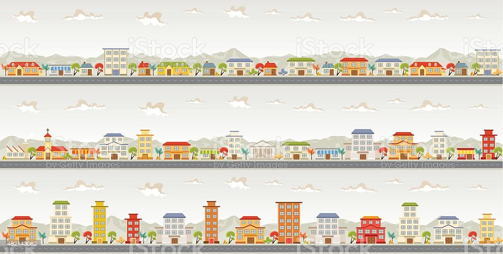 colorful city vector art illustration
