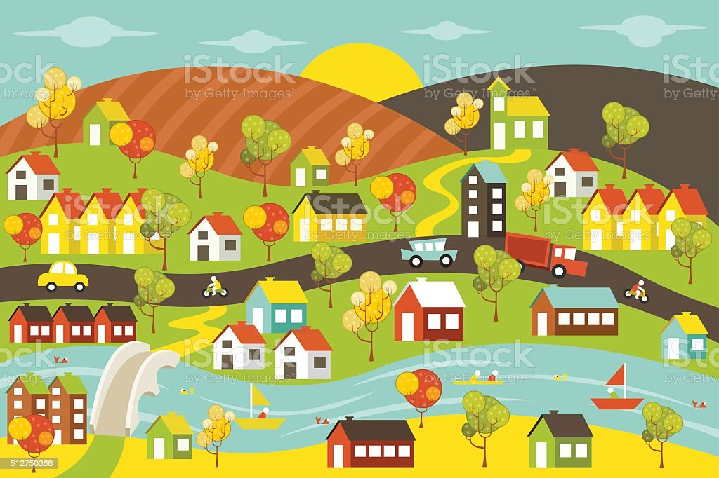 Colorful city with houses vector art illustration