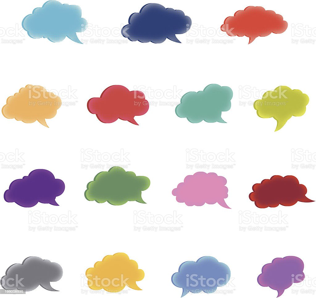 Colorful cloud speech bubbles royalty-free stock vector art