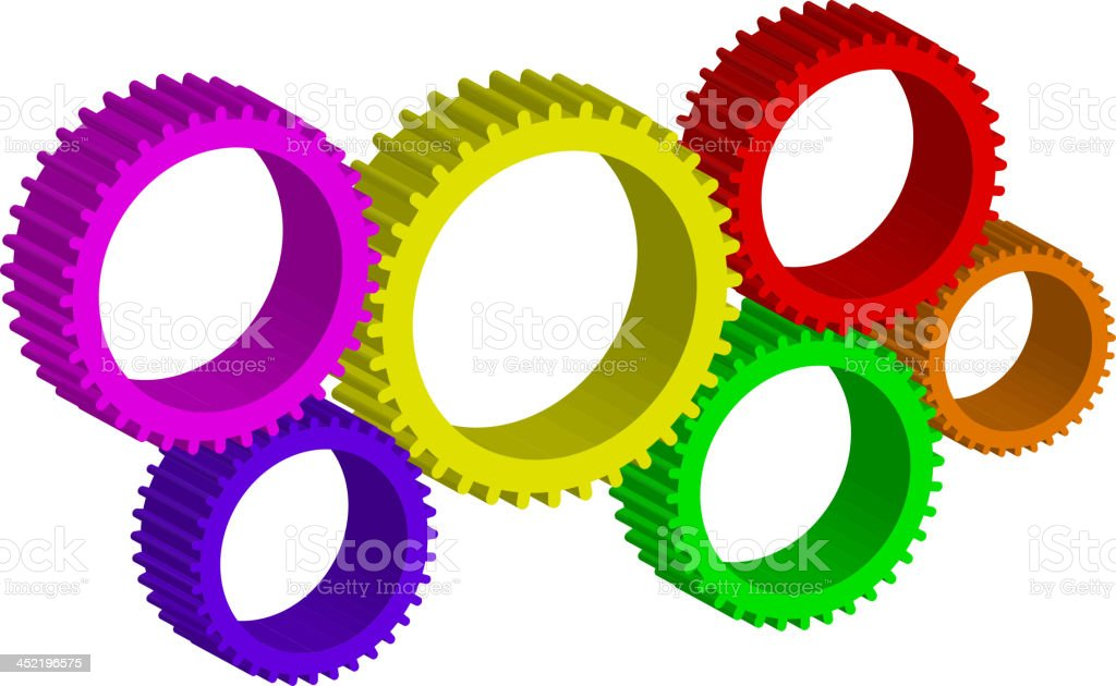 colorful cog-wheels royalty-free stock vector art