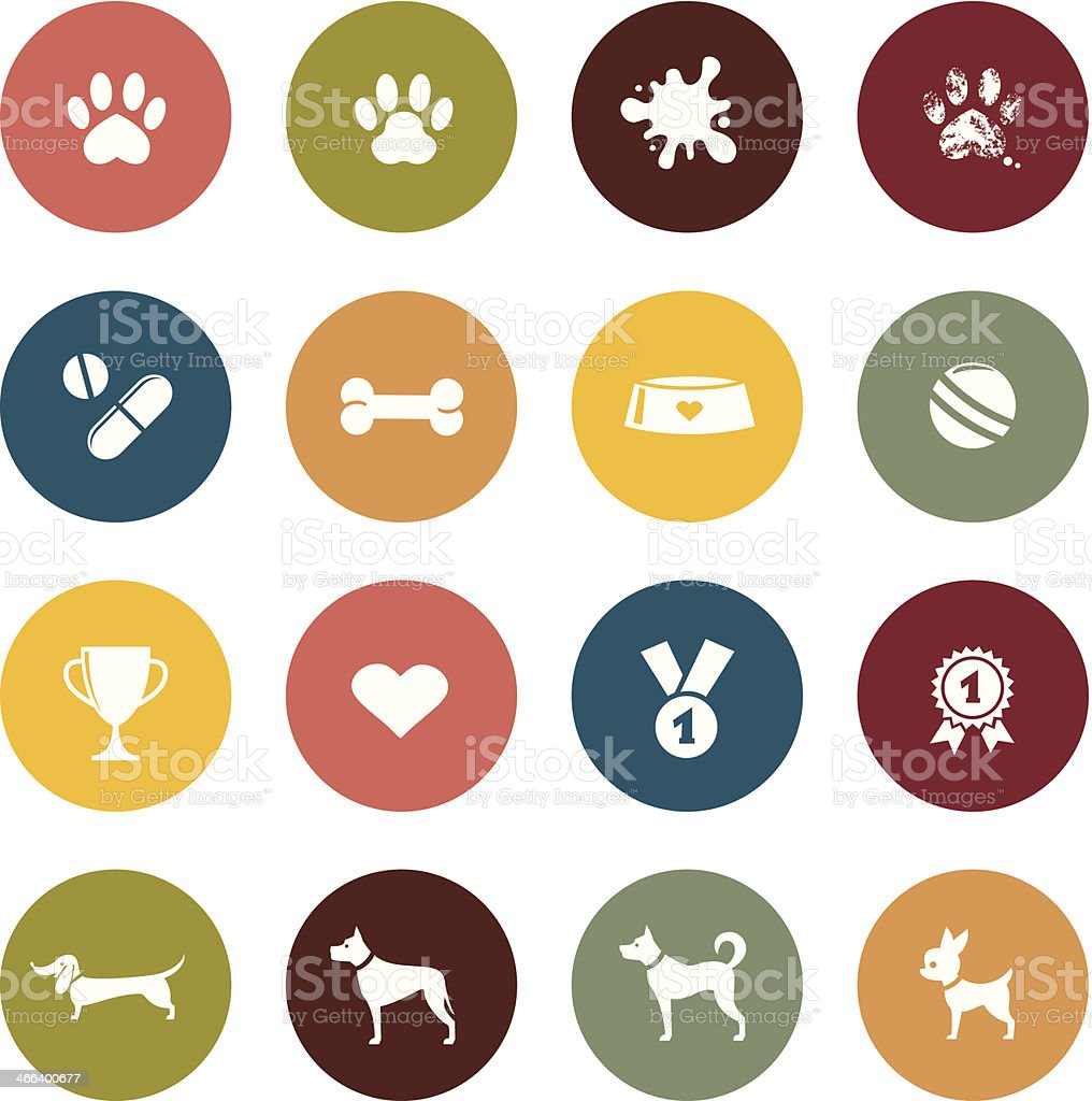 Colorful collage of dogs and dog toys vector art illustration