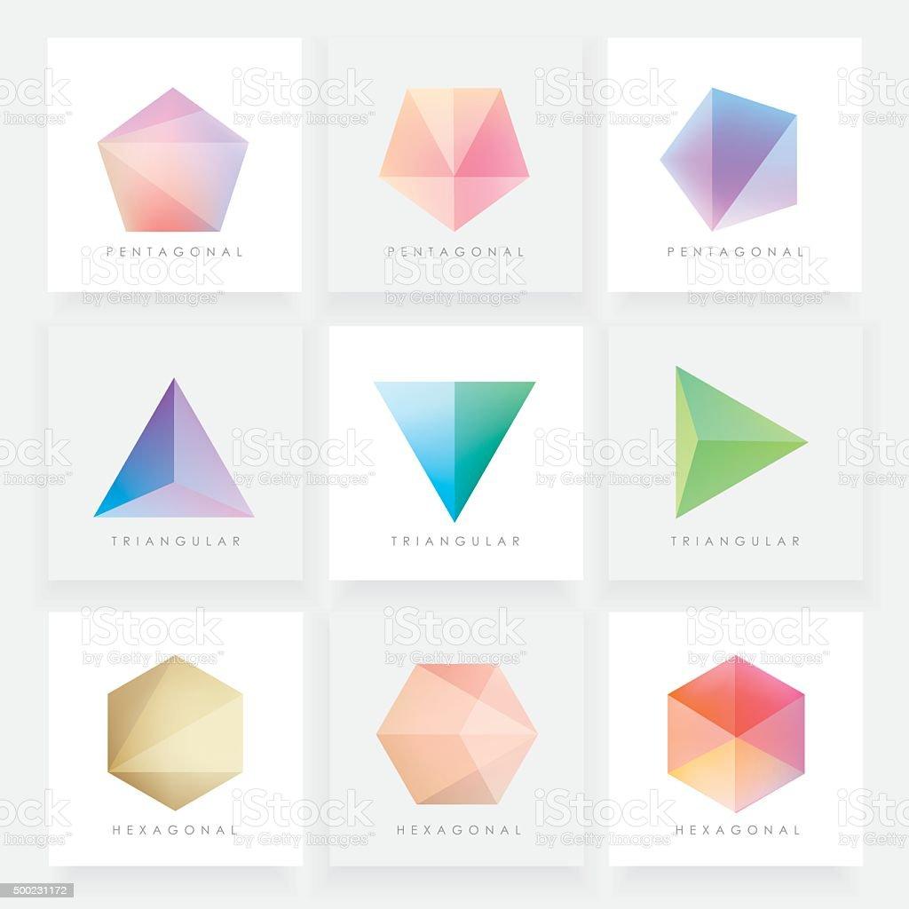 Colorful collection set of soft mesh facet crystal gem designs vector art illustration