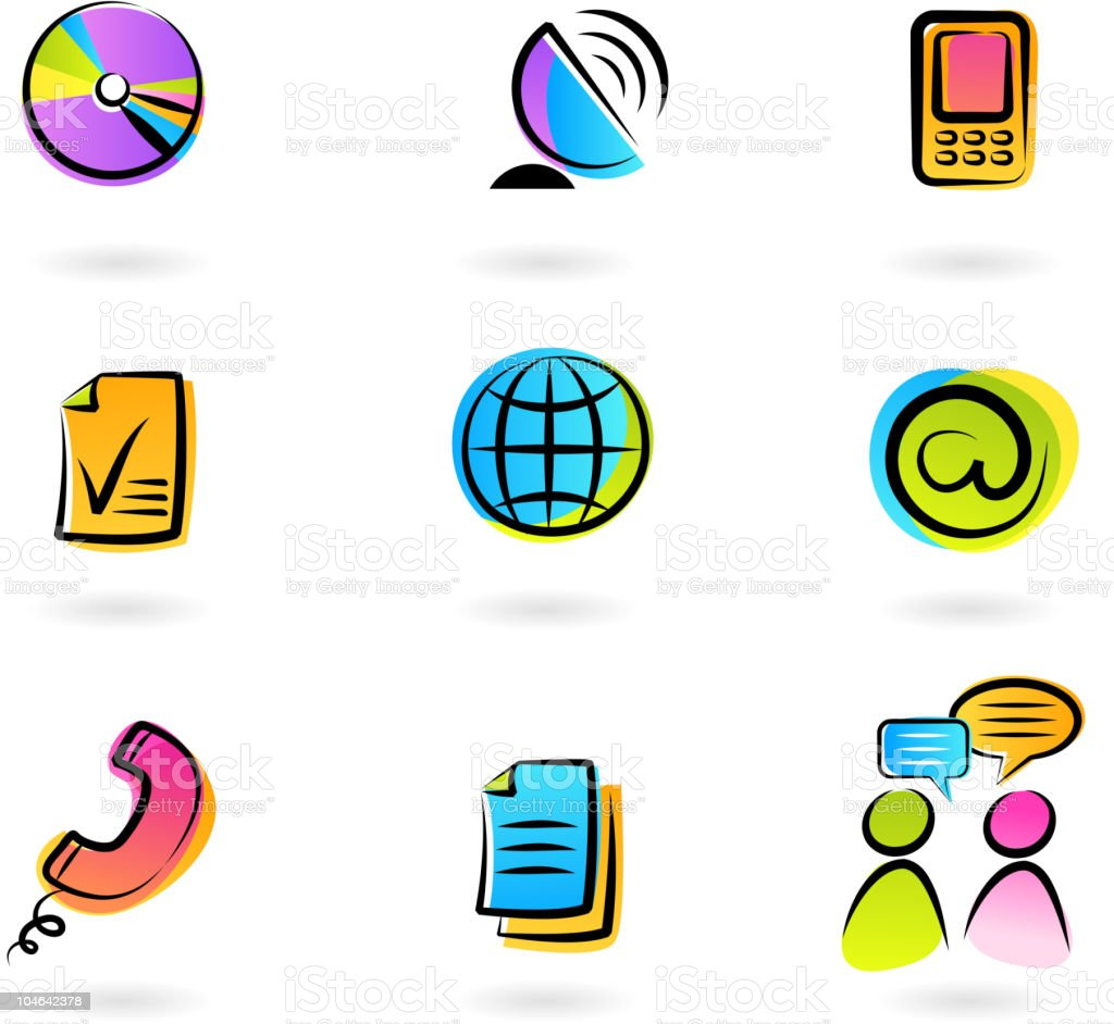 Colorful communication icons - 1 royalty-free stock vector art