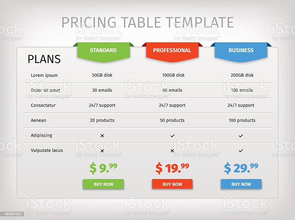 Colorful comparison pricing table template vector art illustration
