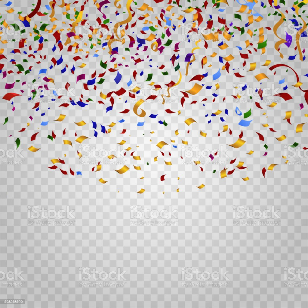 Colorful confetti on checkered background. Vector template vector art illustration