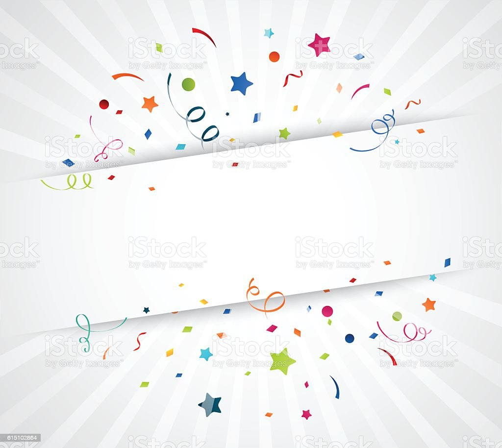 Colorful confetti on white background vector art illustration