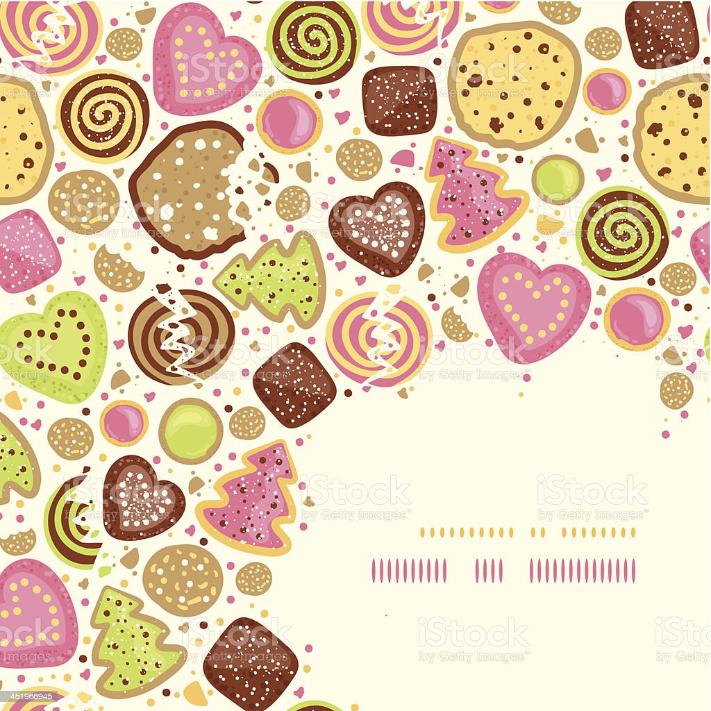 Colorful cookies corner pattern background vector art illustration
